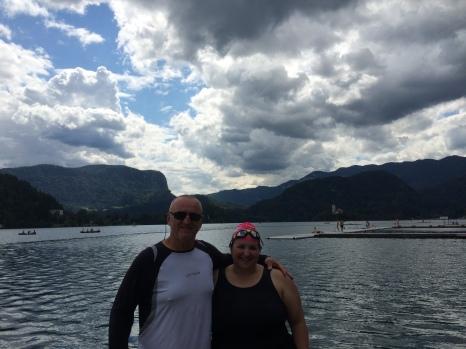 Courtenay with Marathon Swimmer and guide, Martin Strel. Source: Courtenay Verret